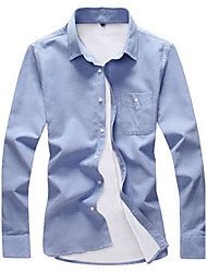 Men's Casual/Daily Simple Fall / Winter Shirt,Solid Shirt Collar Long Sleeve Blue / Pink / White / Black / Gray / Green Cotton Medium