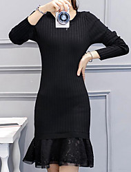 Women's Casual/Daily Simple Sheath Dress,Solid Round Neck Above Knee Long Sleeve Black Cotton Winter High Rise Micro-elastic Medium