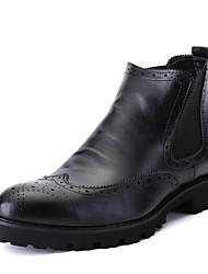 Черный / Красный-Мужской-Для прогулок / На каждый день-Замша-На низком каблуке-Удобная обувь-Ботинки