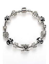 Women's Bracelet Jewelry Blue of Silver Exquisite Glass Bead Bracelet With Safety Chain Luxury Strand