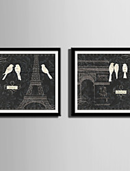 E-HOME® Framed Canvas Art Birds of The Sky in Paris Framed Canvas Print Set Of 2