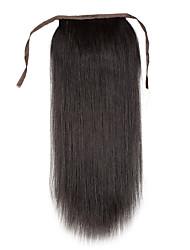 16-24inch 100% реальные человеческие волосы клип в высокий хвост человеческих волос расширение 80г