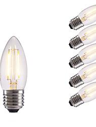 2W E26/E27 Ampoules à Filament LED B 2 COB 250 lm Blanc Chaud / Blanc Froid AC 100-240 V 6 pièces