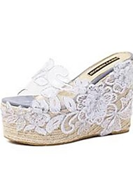 Exclusive lace flower high-heeled thick crust slope with hemp rope sandals and slippers transparencies 4-