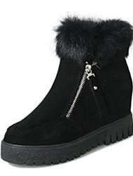 Women's Boots Winter Comfort Suede Casual Flat Heel Black Brown Green