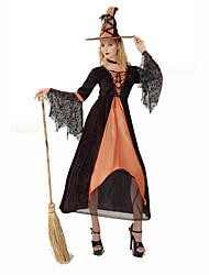 Sorcier/Sorcière Fête / Célébration Déguisement Halloween Noir / Orange Couleur Pleine / Lace RobeHalloween / Noël / Carnaval / Le Jour