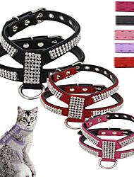 Gatos / Cães Arreios / Trelas Retratável / Paetês / Colete Mosaico / Strass Vermelho / Preto / Rosa / Púrpura Pele PU