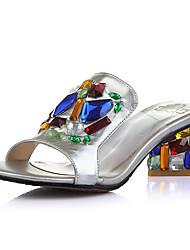 Damen-Sandalen-Kleid Lässig Party & Festivität-PU-Blockabsatz-Komfort Neuheit-Schwarz Silber Gold Transparent