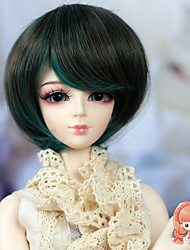 High Temperature Fiber Short Straight Green Color Hair for 1/3 1/4 BJD SD Doll Not for Human Adult