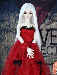 acessórios da boneca sintéticos cor branca reta longa por 1/3 1/4 bjd sd dz MSD boneca traje peruca não para ser humano adulto