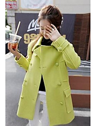 Women's Casual/Daily Simple Coat,Solid Long Sleeve Red / Green Wool