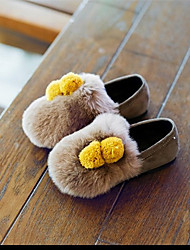 Girl's Loafers & Slip-Ons Fall Winter Others Comfort Cotton Fur Casual Flat Heel Others Pom-pom Black Yellow Gray Others