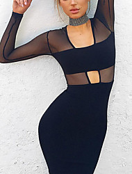 Women's Cut Out Casual/Daily Sexy A Line Dress,Solid Round Neck Knee-length Long Sleeve Black Modal / Polyester Fall / Winter Mid Rise