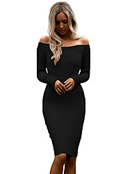 Women's Off Shoulder Long Sleeve Rib Knit Sweater Dress