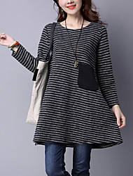 Women's Elegant chic Loose DressStriped Round Neck Above Knee Long Sleeve Red / Gray Cotton / Linen Fall Mid Rise Inelastic