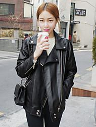 Motorcycle leather jacket 2016 Winter new Korean loose big yards female casual leather jacket short coat