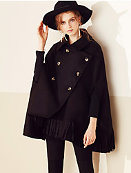 MASKED QUEEN  Women's Going out / Casual/Daily Simple CoatSolid Shirt Collar Long Sleeve Fall / Winter Black Wool Medium