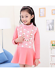 Girl Casual/Daily Solid Dress,Cotton Winter / Fall Long Sleeve