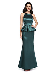 Mermaid / Trumpet Jewel Neck Floor Length Stretch Satin Formal Evening Dress with Ruffles by TS Couture®
