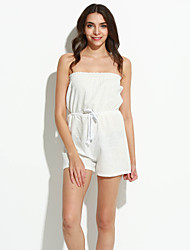 Women's Solid White Jumpsuits,Sexy / Holiday Strapless Sleeveless