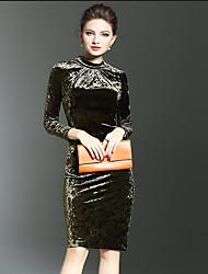 Femme Velours Moulante Robe Travail/Grandes Tailles Vintage,Couleur Pleine Col Ras du Cou Mi-long Manches Longues Vert Polyester Automne/Hiver
