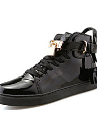 Men's Sneakers Winter Comfort Patent Leather Casual Flat Heel Lace-up Black Pink Silver
