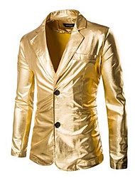 Men's Casual/Daily Simple Coat,Solid Shirt Collar Long Sleeve Spring Gold Polyester Medium