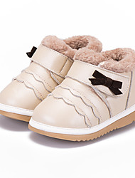 Kids' Girls' Boots Winter Comfort First Walkers Leather Casual Bowknot Magic Tape Gold Red