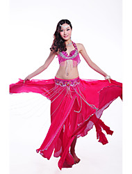 Belly Dance Outfits Women's Performance Polyester / Sequined 3 Pieces Sleeveless Dropped Waist Belt / Skirt / Bra