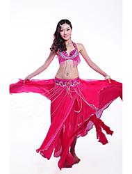 Dança do Ventre Roupa Mulheres Actuação Poliéster Lantejoulas 3 Peças Sem Mangas Caído Saia Sutiã Cinto