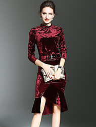 Set Jupe Costumes Femme,Couleur Pleine Habillées / Soirée / Cocktail Sexy / Sophistiqué Automne / Hiver Manches ¾ Col ArrondiRouge / Noir