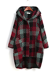 Women's Beach / Holiday Cute / Chinoiserie Coat,Patchwork Hooded Long Sleeve All Seasons Multi-color Cotton Medium