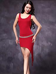 Dança Latina Vestidos Mulheres Treino Modal 1 Peça Sem Mangas Alto Vestidos M=113CM;L=115CM;