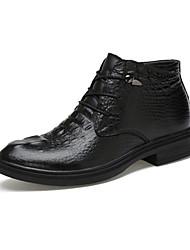 Черный-Мужской-Повседневный-Полиуретан-На плоской подошве-Удобная обувь-Ботинки