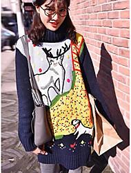 Damen Standard Pullover-Ausgehen Lässig/Alltäglich Einfach Druck Blau Grau Rundhalsausschnitt Langarm Kunst-Pelz Frühling Herbst Mittel