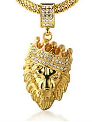 Necklace Rhinestone Jewelry Men's 18k Stamp Real Gold Plated Crown Lion Pendant Necklace with Chain 29.5