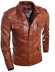 Men's Casual/Daily Simple Jackets,Solid Stand Long Sleeve Fall / Winter Black / Brown PU Medium