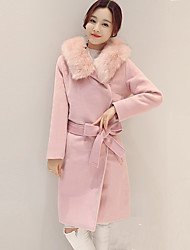 Women's Casual Work Simple Trench Coat Solid Hooded Long Sleeve with Fur Trim
