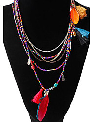 Women's Chain Necklaces Strands Necklaces Turquoise Resin Feather Alloy Feather Tassel Bohemian Black Blue Assorted Color JewelryParty
