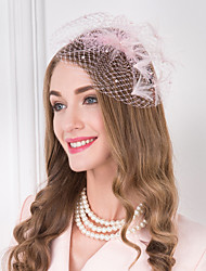 Femme Plume Imitation de perle Filet Casque-Mariage Occasion spéciale Décontracté Serre-tête Coiffure 1 Pièce