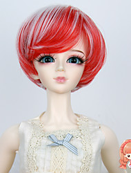 1/3 1/4 BJD SD MSD Doll Wig Synthetic Short Straight Red and White Color Bob Hair Wig Not for Human Adult