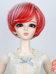 1/3 1/4 bjd sd msd poupée perruque synthétique courte couleur bob perruque de cheveux rouge et blanc droite pas pour adulte humain
