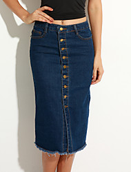Women's Solid Blue Skirts,Vintage / Street chic Midi