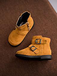 Girls' Boots Winter Comfort Cowhide Casual Zipper Black Gray Camel