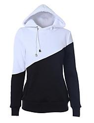 Damen Standard Hoodies-Lässig/Alltäglich Einfach Einfarbig Schwarz Mit Kapuze Langarm Polyester Herbst / Winter Mittel Mikro-elastisch