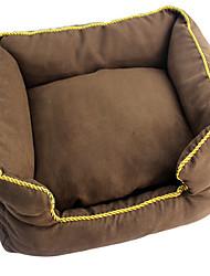 Cachorro Camas Animais de Estimação Almofadas Castanho / Cinzento Tecido