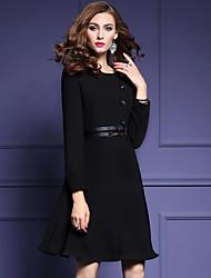 Gaine Robe Femme Travail / Grandes Tailles Vintage,Couleur Pleine Col Arrondi Au dessus du genou Manches Longues Noir PolyesterAutomne /