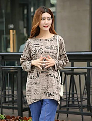 Women's Casual/Daily Simple Spring / Fall T-shirt,Print Round Neck Long Sleeve Multi-color Cotton