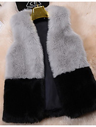 Women's Going out / Casual/Daily Cute Jackets,Solid Round Neck Sleeveless Fall White / Black / Gray Faux Fur Medium
