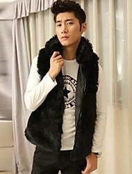 Masculino Casaco de Pêlo Casual Moda de Rua Inverno,Sólido Preto Pêlo Sintético Colarinho Chinês-Sem Manga Grossa